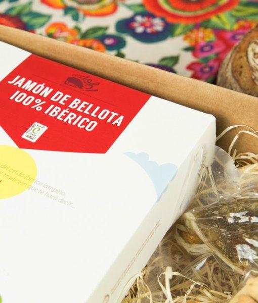 Cesta cositas ricas de Cerdoh con Jamón de Bellota 100% Ibérico