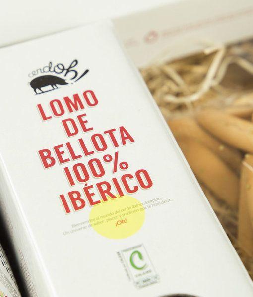 Cesta cositas ricas de Cerdoh con lomo de Bellota 100% Ibérico.